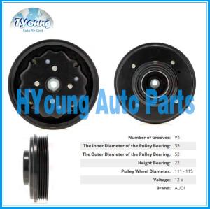 4PK 115mm 12v Denso 6SEU/7SEU fit for Audi Car air conditioning Compressor clutch, bearing size 35BD5220