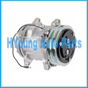 A/C AC Compressor Sanden 5077 SD5H09 12V 125mm 2PK N83-304413 N83304413 5077 Horizontal Fitting