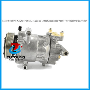 Sanden SD7V16 auto ac compressor for Ford Transit 2.2 TDCi Citroen Peugeot OE 1735914 SD 1832 1832f 1845f 9676552680 bk2119d629ba 6pk 110mm