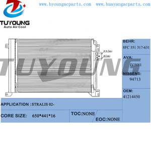 Auto ac condenser Radiator Iveco stralis 2002-  Condenser # 41214450 8FC351317631  core size 650*441*16 mm