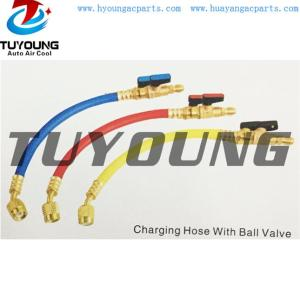 auto air conditioning charging hose with ball valve with customers need length