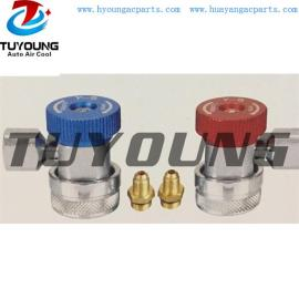 R134a auto air conditioning adjustable quick coupler with connection 1/4SAE and M14* 1.5