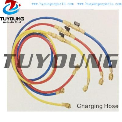auto air conditioning charging hose with ball valve Connection 1/4 5/16 3/8SAE 1/2CME
