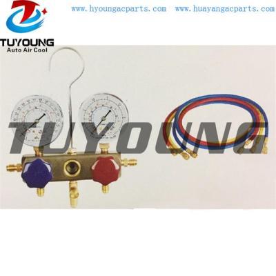 Auto ac service tool box, R134a R22 R404 R407 manifold gauge set Aluminum alloy valve