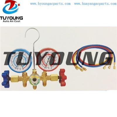 Auto ac service tool box, R134A manifold gauge set forging brass valve