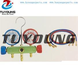 Auto ac service tool box, R134A manifold gauge set aluminum valve