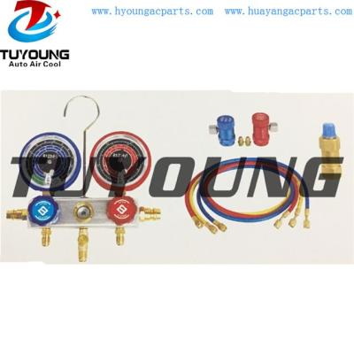 Auto ac service tool box, Connection M12*1.5, r1234yf manifold gauge set with recycling aluminum valve