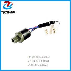 4 pins R134a auto ac pressure switch , black - HP / LP, blue MP; Female thread (internal) 7/16 ''- 20UNF (1 / 4''SAE)