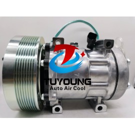 Caterpillar 24v 8pk truck vehicle air conditioner compressor, Sanden 7h15 car ac compressor