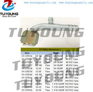 R12 auto air conditioning fitting Aluminium flare #6 #8 #10 #12