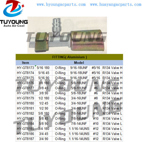 R134 O-Ring Auto Air Conditioning Fitting Aluminium #6 #8 #10 #12