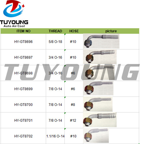 auto air conditioning fitting Aluminium #6 #8 #10 #12
