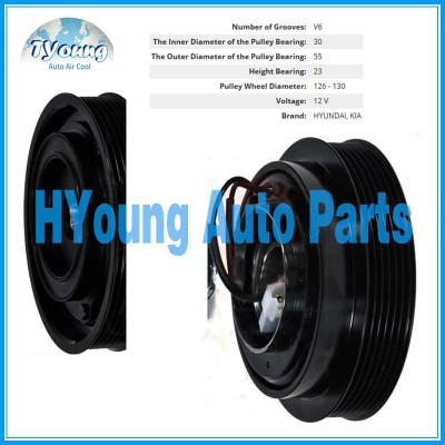 Halla 127/124mm 12V 6PK Auto ac compressor clutch for Hyundai / Kia vehicle, bearing size 30x55x23mm