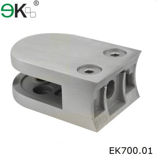 stainless steel curved back D glass railing clamp