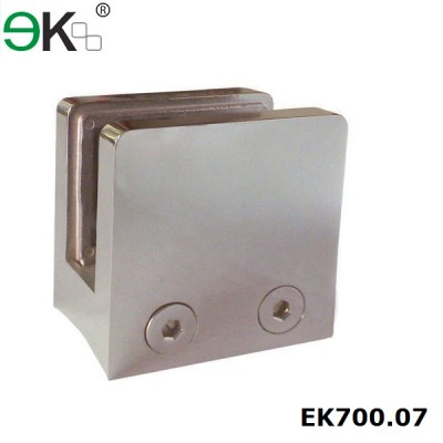 square stainless steel glass clip for round post