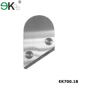 Stainless steel glass panel clamp fixings with bevel edge