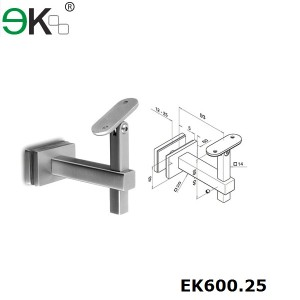stainless steel square glass handrail bracket
