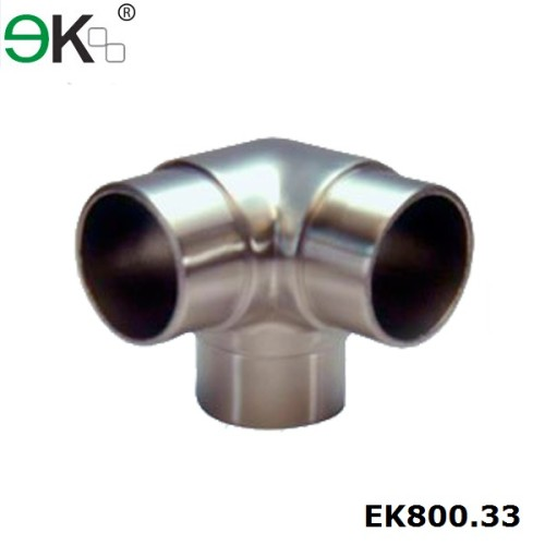 Stainless steel glass railing tubing 3 way connector