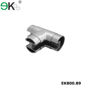 Stainless steel glass handrail tee flush fitting slot tube connector