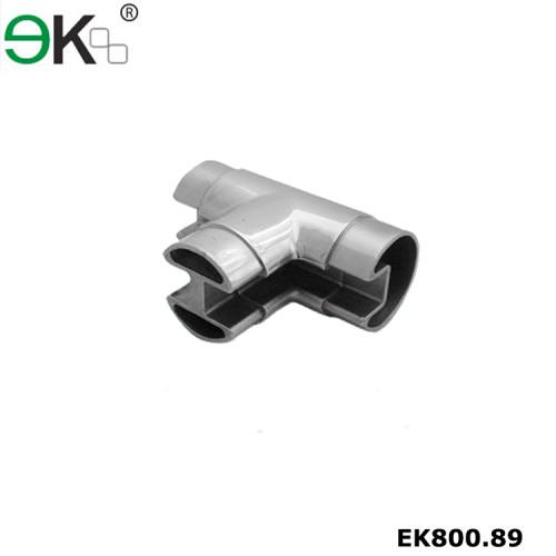 Stainless steel glass handrail tee flush fitting slot tube connector