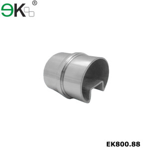 Stainless steel glass railing post single slot tube connector
