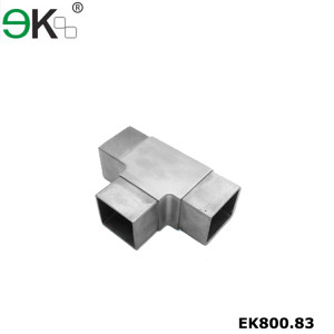 Stainless steel handrail flush joiner square 3 way tube connector