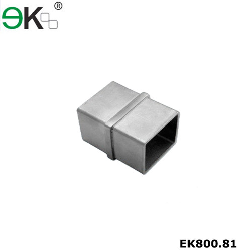Stainless steel handrail in line square tube connector