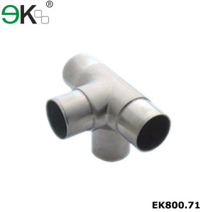 Stainless steel handrail fitting side outlet elbow four way tube connector