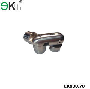Stainless steel three way handrail bar tube connector