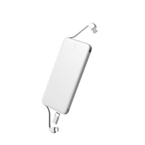 5000mah Thin Power Bank with Cable 2-in-1 charger Iphone and Andorid, Type-C