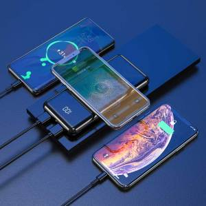 18W PD Power Bank Mirror Ultra Slim 10000mAh 10W Wireless Type-c QC 3.0 Fast Charging Powerbank