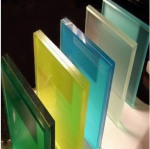 China factory manufacturing cheap high quality colored safety laminated glass for buildings