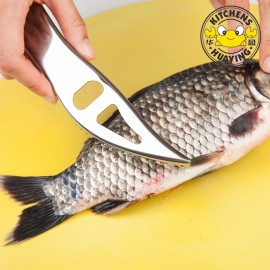 New 2 In 1  Stainless Steel Fish Scale Scraper Cleaner Beer Opener