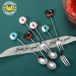Creative Spoon Fork for Ice cream Dessert spoon Fruit fork Lovely style