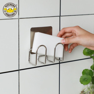 Punch-free stainless steel sponge drain rack kitchen cleaning storage rack