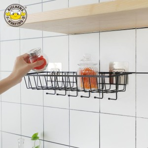 Wall mounted kitchen iron wire rectangle storage basket with hooks