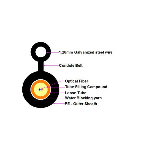 Cable en miniatura de un solo modo, Figura 8 Cable GYXTC8Y