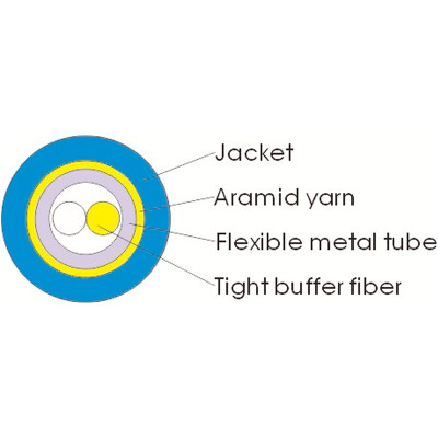 Spiral Armored flexible stainless steel tube Indoor Fiber Optic Cable GJSFJH-2F