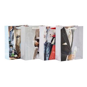 Hochwertige Geschenkpapierbeutel aus weißem Karton für Männer mit Sortiment in Tongle Verpackung