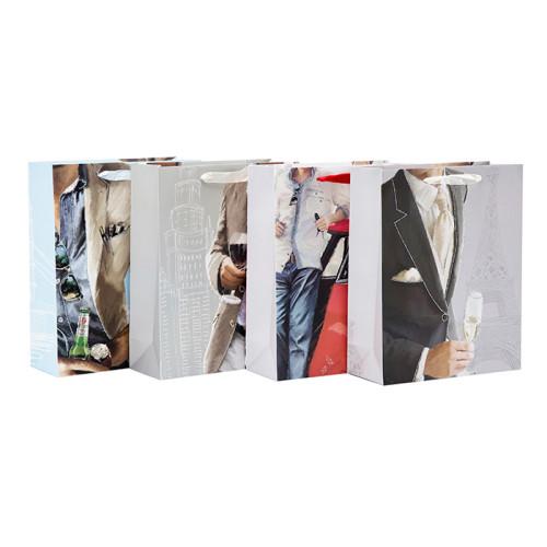 Bolsos de regalo de papel blanco de alta calidad para HOMBRES con surtido en Embalaje de Tongle