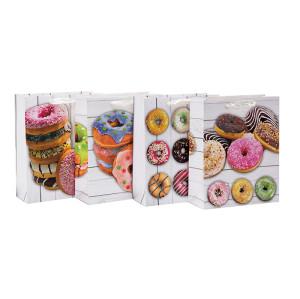 Cumpleaños probado donuts feliz cumpleaños bolsas de regalo de papel con 4 diseños surtidos en Tongle Packing