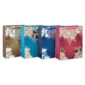Фольга штампованные цветочные дизайн бумажные подарочные пакеты с 4 дизайнами сортировки в Tongle Packing