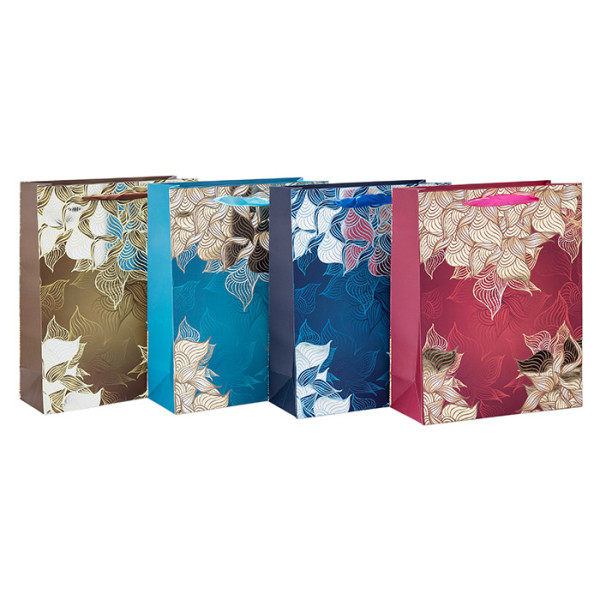 Folie gestempelt Blume gestaltete Papier Geschenktüten mit 4 Designs sortiert in Tongle Verpackung