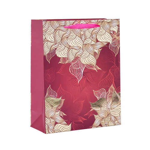 Bolsas de regalo de papel con diseño de flor estampada con 4 diseños en Tongle Packing