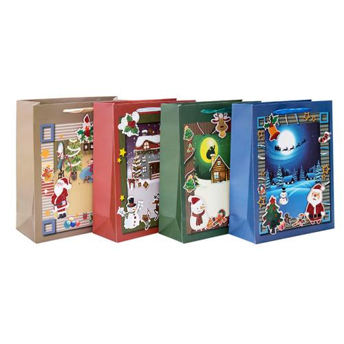 Bolsas de regalo de papel premium de temporada y de vacaciones con 4 diseños surtidos en Tongle Packing
