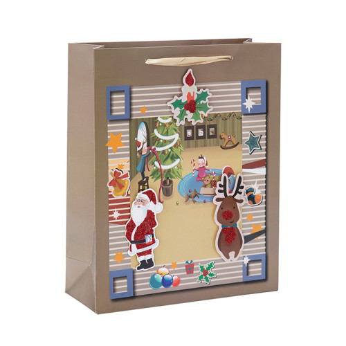 Premium Weihnachts- und Feiertags-Geschenkbeutel aus Papier mit 4 Designs, sortiert in Tongle Packing