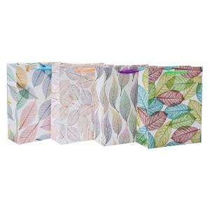 Bolsos de regalo de papel de hojas coloridas con 4 diseños surtidos en embalaje de Tongle