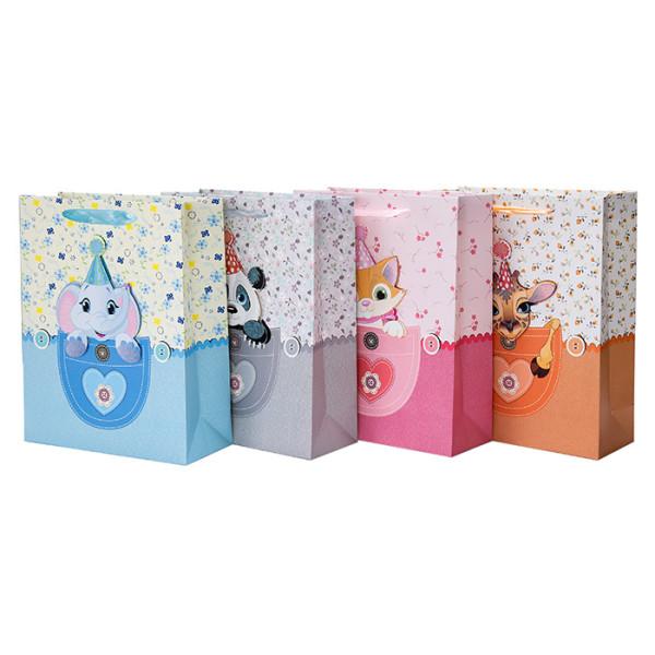 Nuevas bolsas de regalo de papel de bebé y niña con 4 diseños surtidos en Tongle Packing