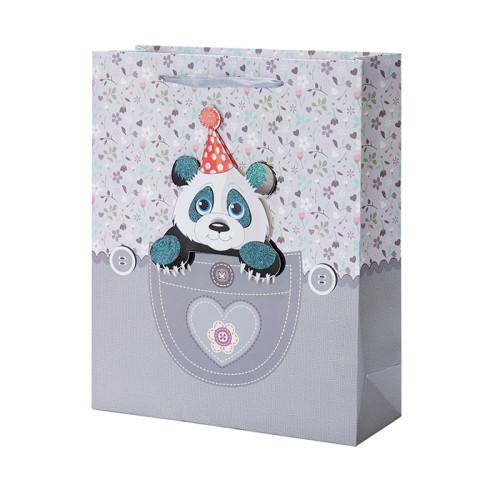 Nouveaux sacs-cadeaux de papier de bébé et de fille avec 4 conceptions assorties dans l'emballage de Tongle