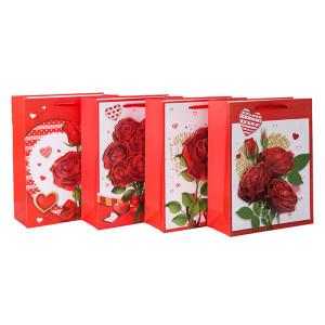 Be mine rose bolsas de regalo de papel de día de san valentín con 4 diseños surtidos en Tongle Packing
